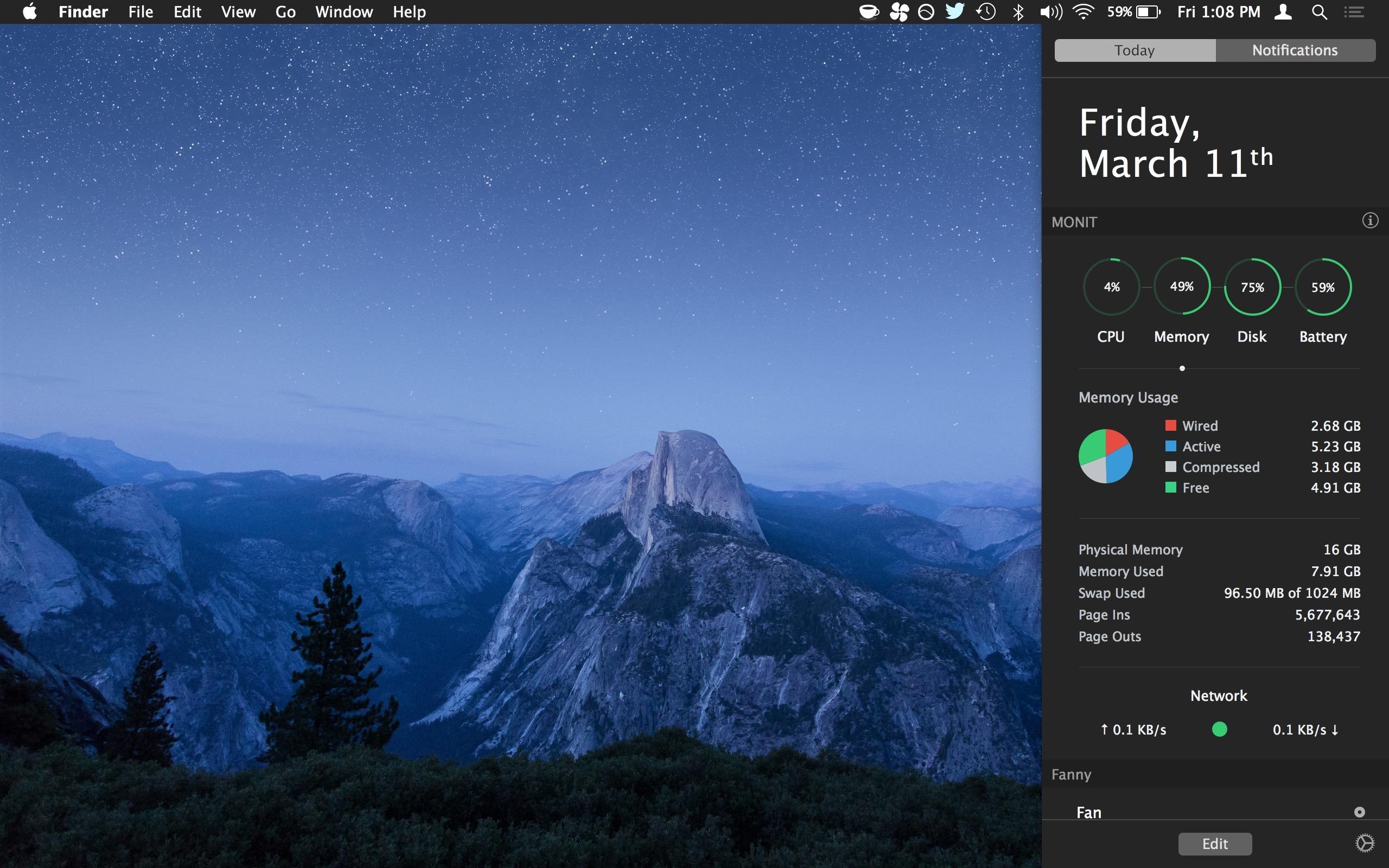 Controllo dell'utilizzo delle risorse di sistema in Monit per Mac Notification Center