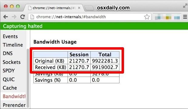Traccia l'utilizzo della larghezza di banda nel browser Web Chrome
