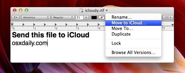 Sposta un file su iCloud da Mac OS X
