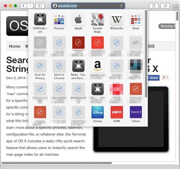 Icone del pannello dei segnalibri di Safari in OS X