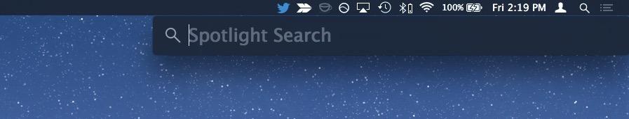 Spotlight nell'angolo dello schermo OS X