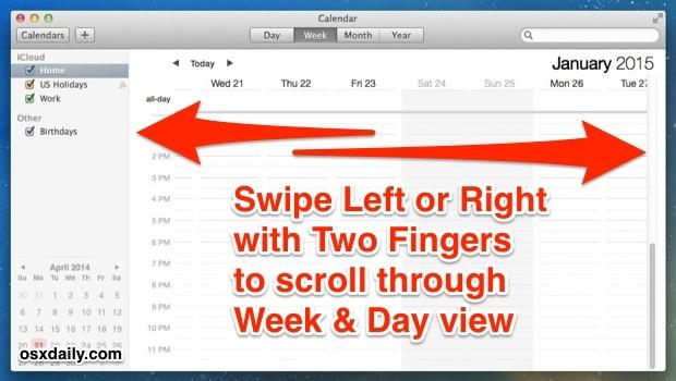 Navigazione rapida della visualizzazione di settimana e giorno nell'app Calendario per Mac OS X