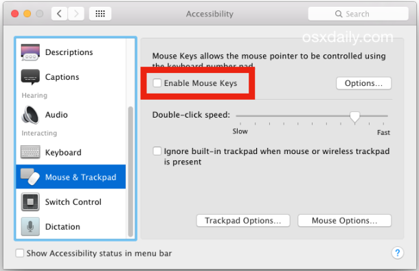 Deselezionare Tasti mouse se il tastierino numerico non funziona sulla tastiera
