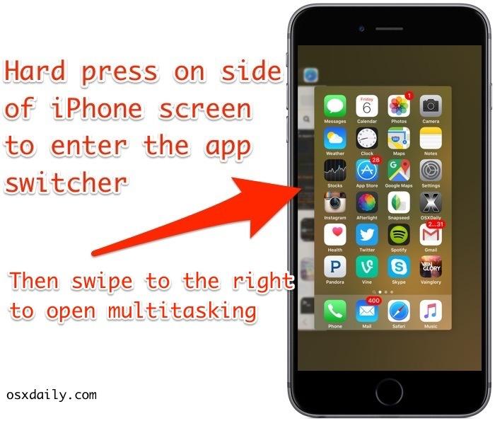Accedi al commutatore di app con 3D Touch sullo schermo di iPhone