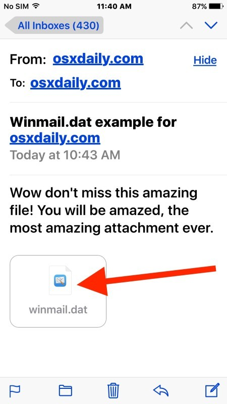 Ricevere file allegati winmail.dat in iOS Mail e leggerli