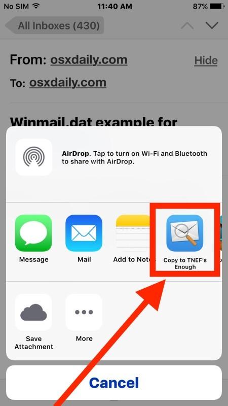 Aprire il file allegato Winmail.dat in Mail per iOS