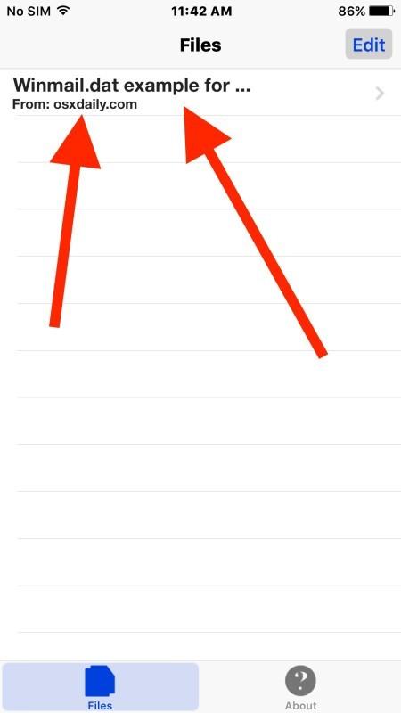 Aprire un file allegato winmail.dat in iPhone