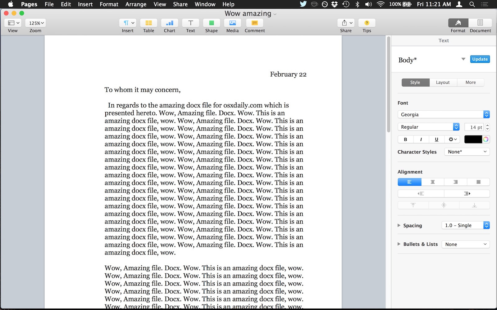 Aprire un file docx in Pages per Mac OS X