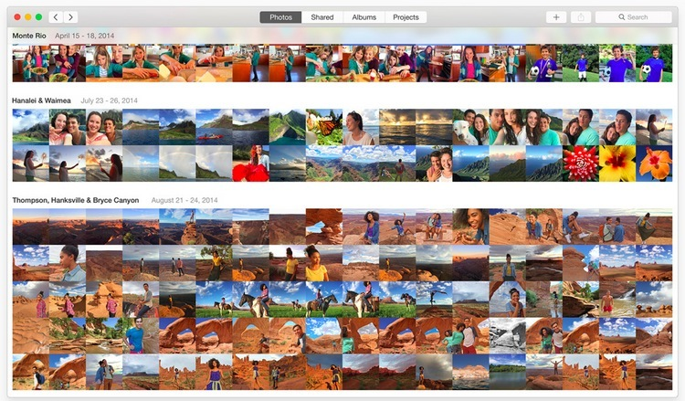 La GUI dell'app Photos standard è molto simile a iOS