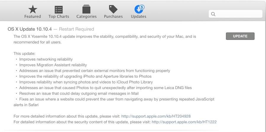 Aggiornamento OS X 10.10.4 per i Mac Yosemite