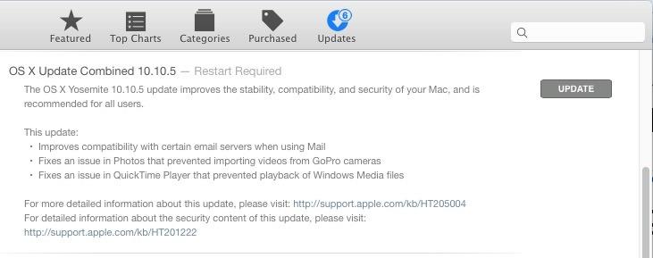 Aggiornamento OS X 10.10.5 Yosemite
