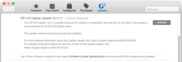 Aggiornamento OS X 10.11.3