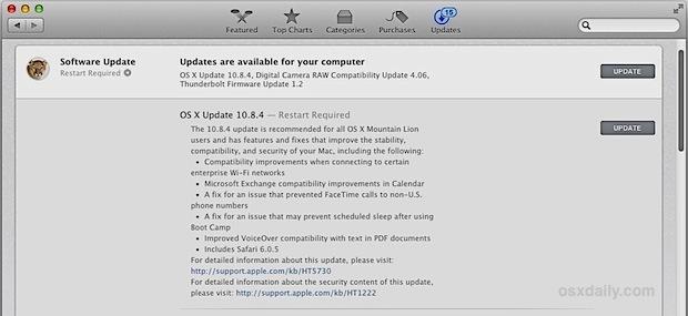 Aggiornamento OS X 10.8.4