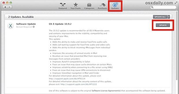 Scarica l'aggiornamento OS X 10.9.2