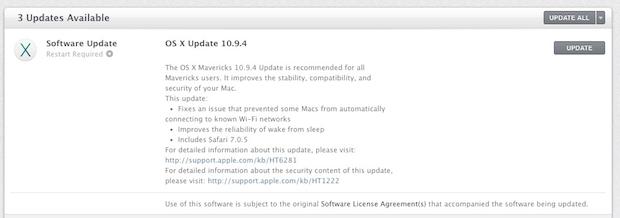 Aggiornamento OS X 10.9.4 nel Mac App Store