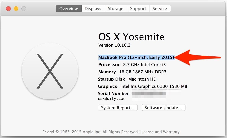 Trova anno hardware modello Mac