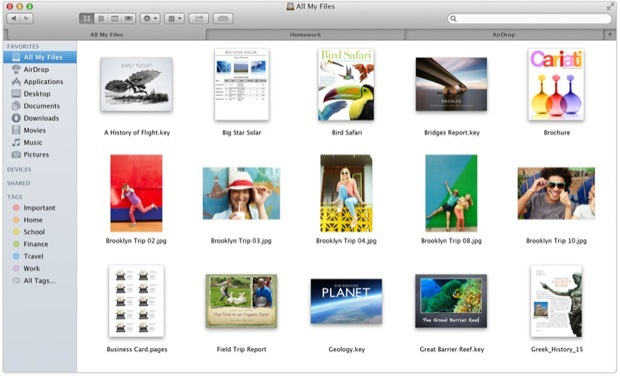 Schede del Finder in OS X Mavericks