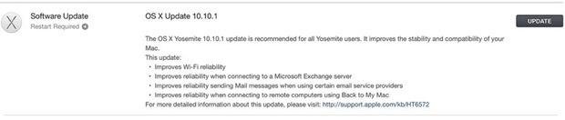 Aggiornamento OS X 10.10.1 per Yosemite