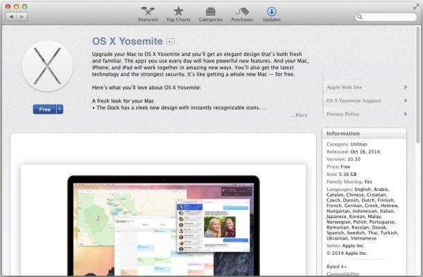 OS X Yosemite ora disponibile per il download