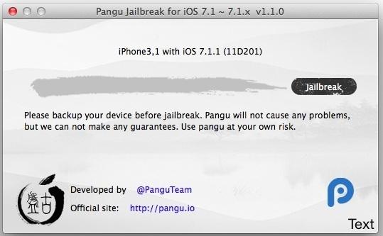 Pangu Jailbreak per iOS 7.1.1 in esecuzione su Mac OS X.