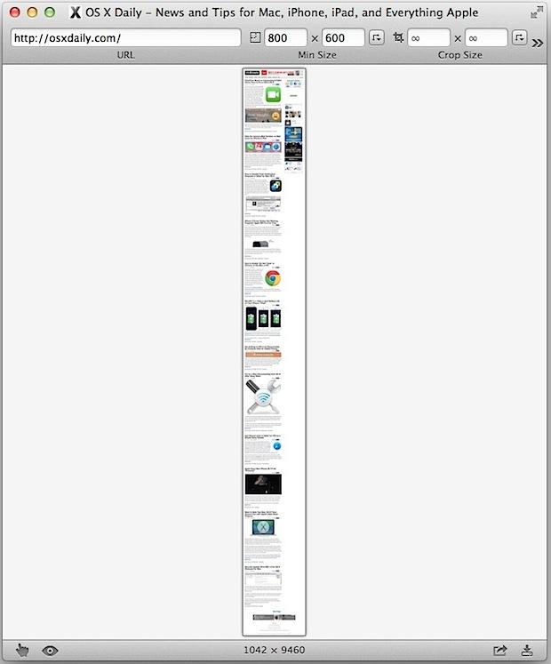 Catturare una schermata della pagina Web completa in Paparazzi per Mac
