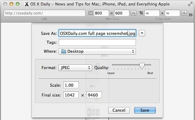 Salva un'immagine completa della pagina web in Mac OS X