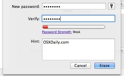 Imposta una password del disco