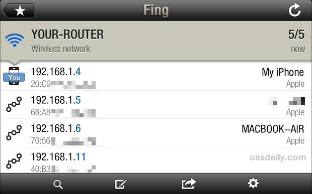 Scansione di rete da iOS con Fing