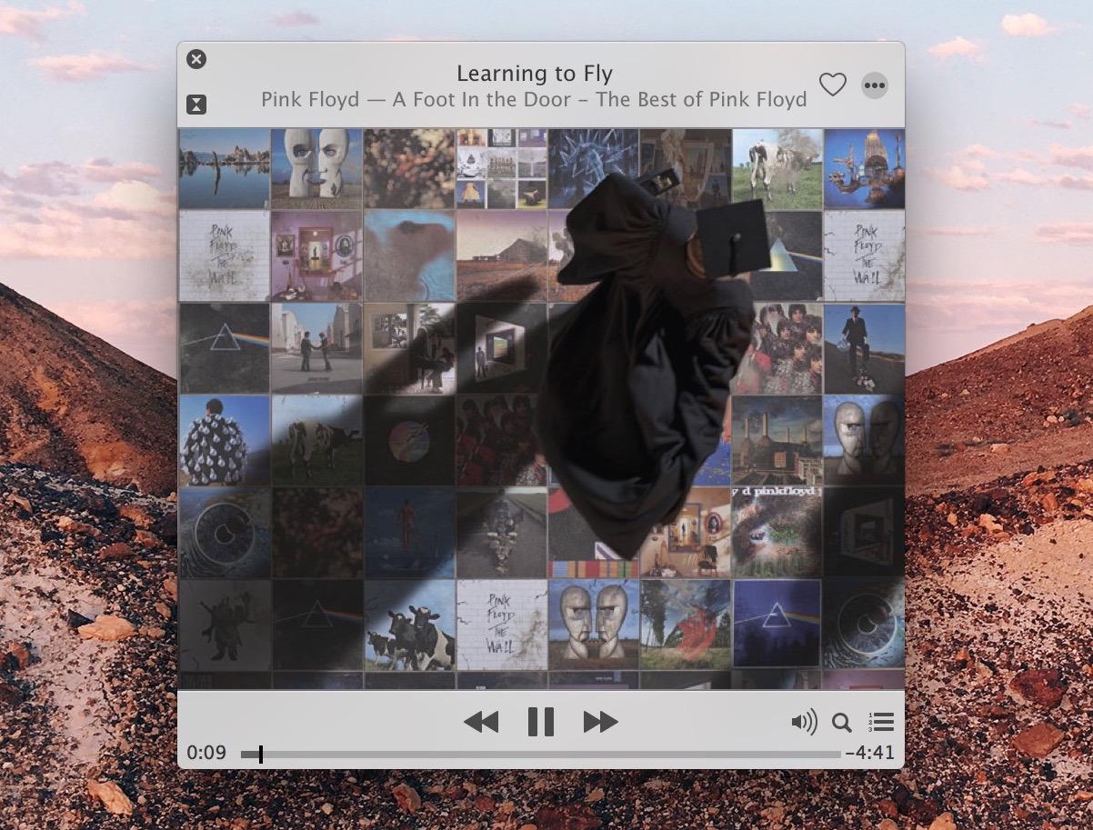 Un brano riprodotto all'interno di iTunes come lanciato da Spotlight