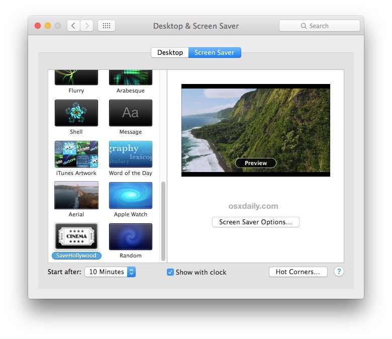 SaveHollywood riproduce i video come screen saver in OS X
