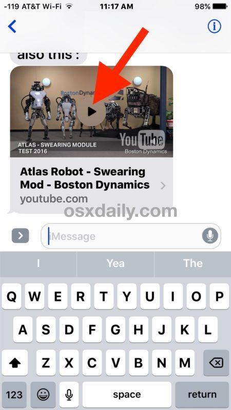 Riproduci il messaggio incorporato video in iOS