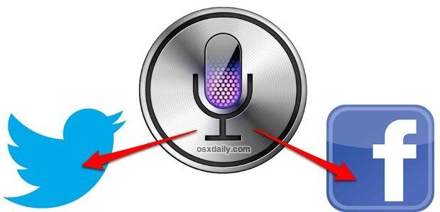 Pubblicazione da Siri a Twitter o Siri a Facebook