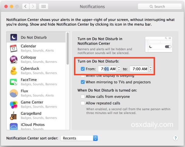 Disabilitare tutti gli avvisi nel Centro di notifica con la modalità Non disturbare costante in Mac OS X