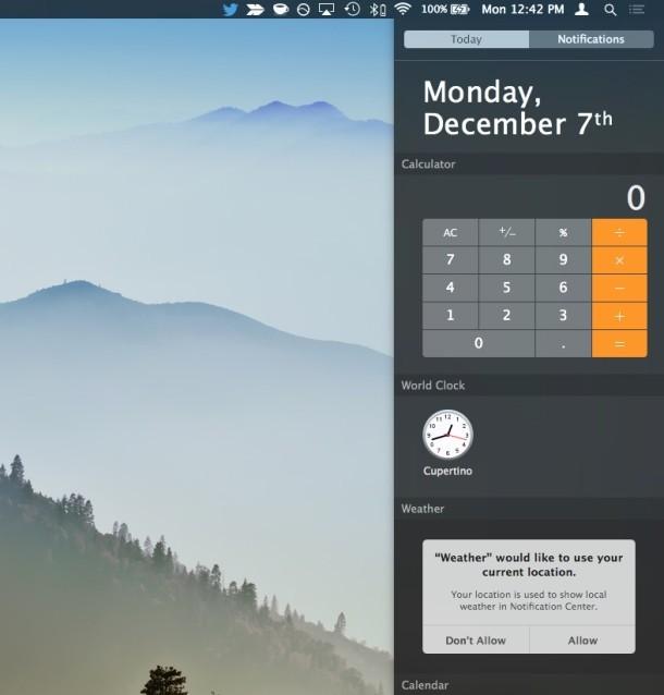 Centro di notifica in OS X è ancora visibile