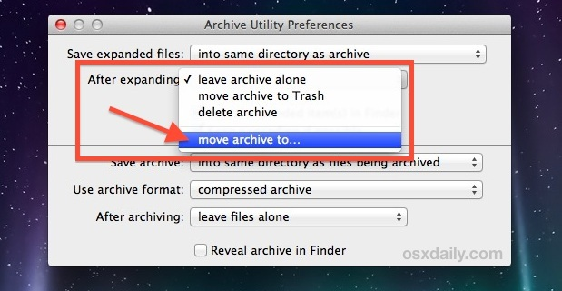 Sposta automaticamente gli archivi dopo l'estrazione in Mac OS X.