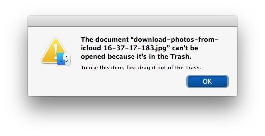 Impossibile utilizzare il file nel Cestino