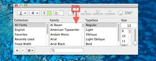 Rivela le anteprime dei font in OS X