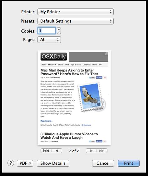 Stampa di un file dal desktop su un Mac