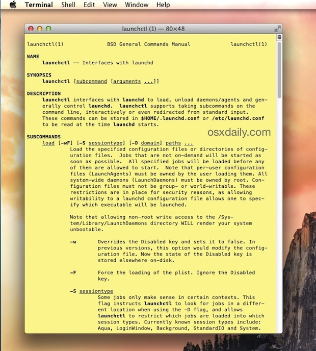 La pagina man è stata lanciata nell'app Terminal per Mac OS X