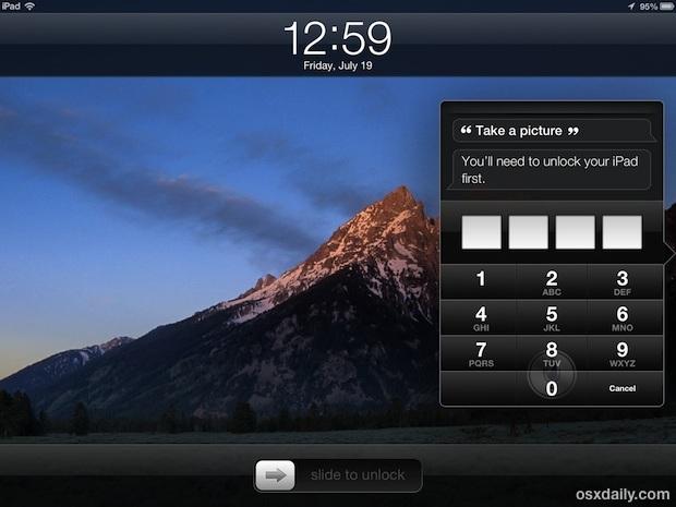 Scatta una foto dalla schermata di blocco sull'iPad