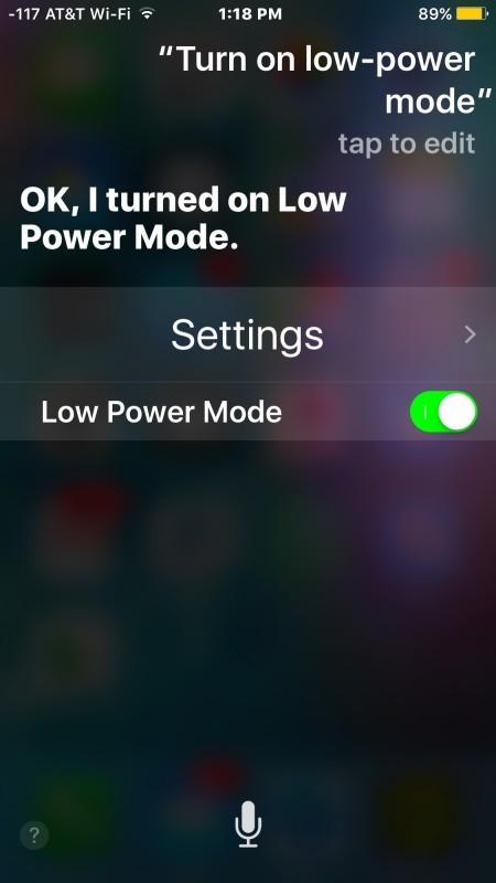 Attivazione della modalità di risparmio energetico su iPhone con Siri