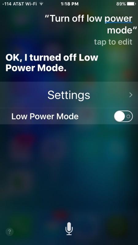 Disattivazione della modalità di risparmio energetico con Siri