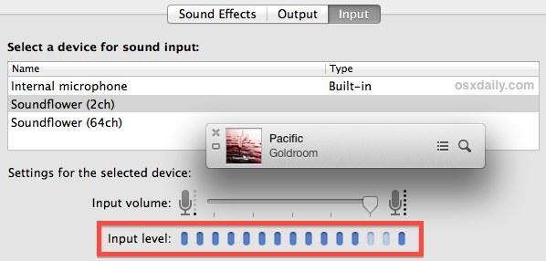 Audio di sistema acquisito da Soundflower