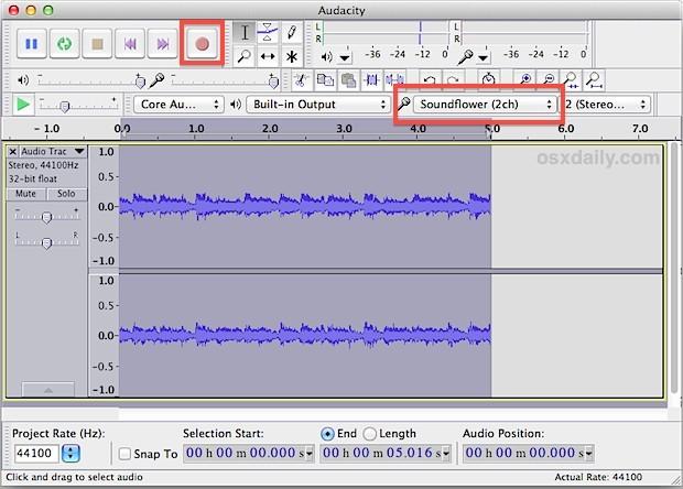 Registra l'audio di sistema su un Mac con Audacity