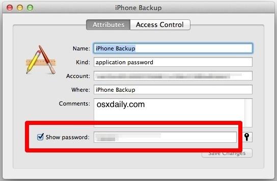 Mostra la password persa per il backup iPhone crittografato