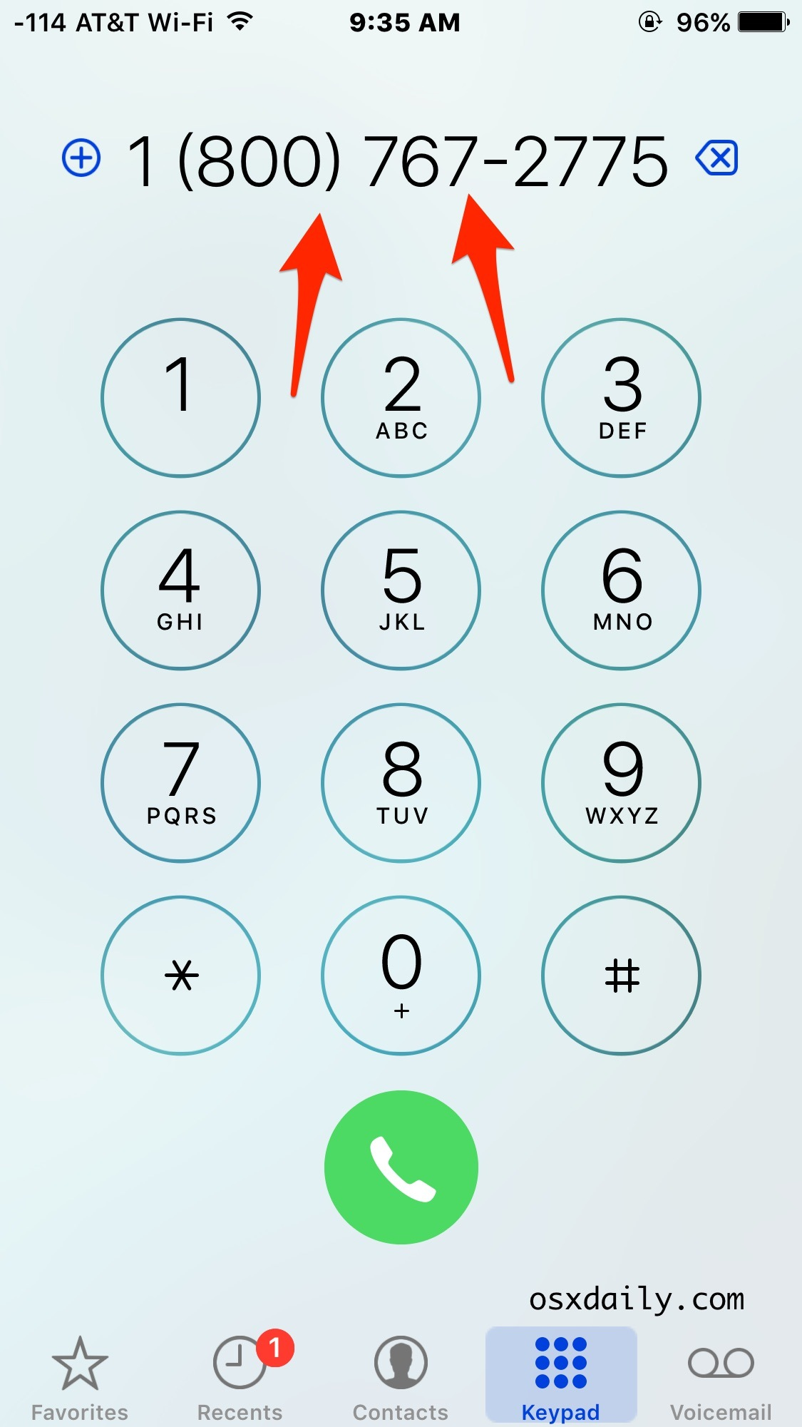 Visualizzazione e ricomposizione dell'ultimo numero chiamato su iPhone