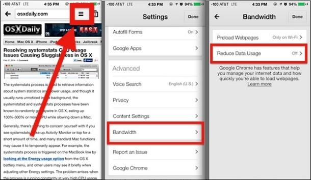 Riduci l'utilizzo dei dati in Chrome per iOS