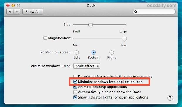 Riduci a icona le finestre nell'icona dell'applicazione nel Dock di OS X