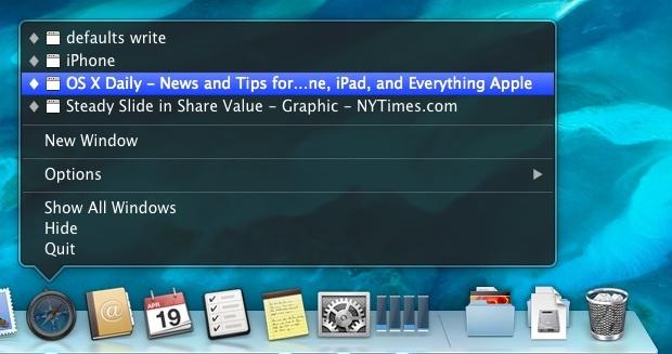 Finestre ridotte a icona nell'icona dell'applicazione di Mac OS X Dock