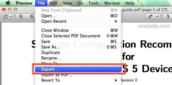 Esportare un PDF per comprimere le dimensioni del file nell'app Anteprima per Mac OS X